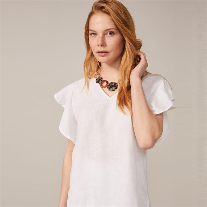 Phase Eight Frill Sleeve Linen Blouse