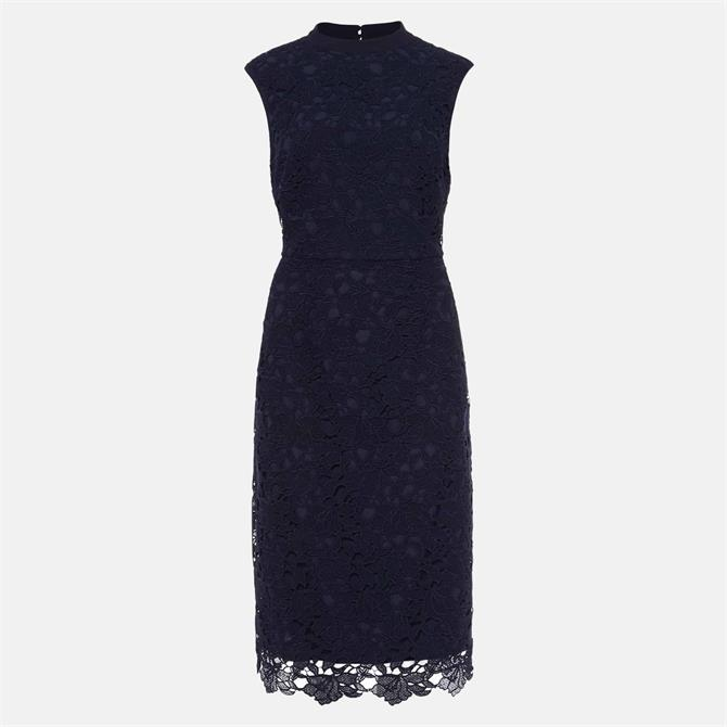 Phase Eight Gretal Lace Fitted Navy Dress