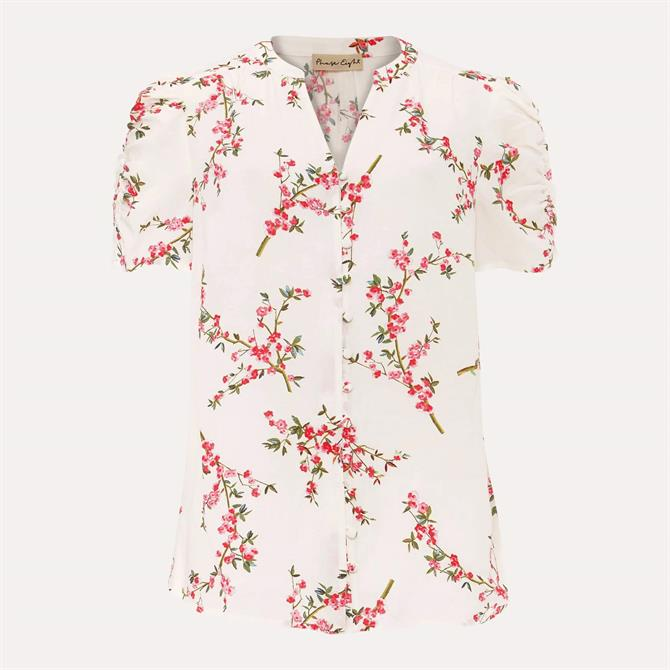 Phase Eight Mae Ruched Sleeve Floral Blouse