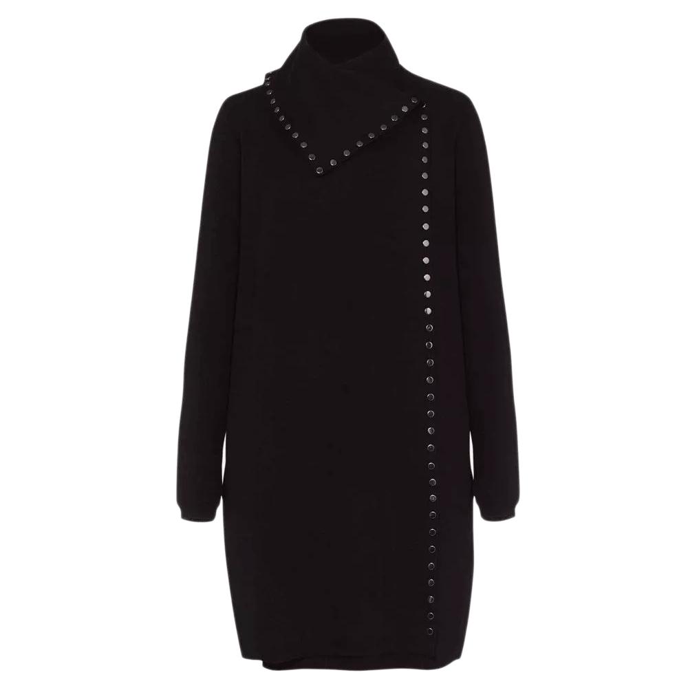An image of Phase Eight Paloma Stud Knit Coat - 10, BLACK