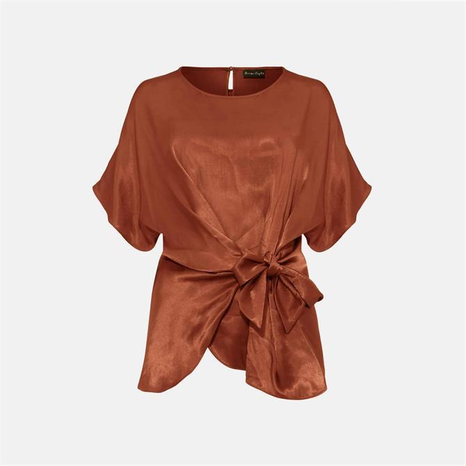Phase Eight Warna Bronze Satin Tie Blouse