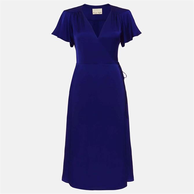 Phase Eight Sasha Satin Wrap Dress Blue
