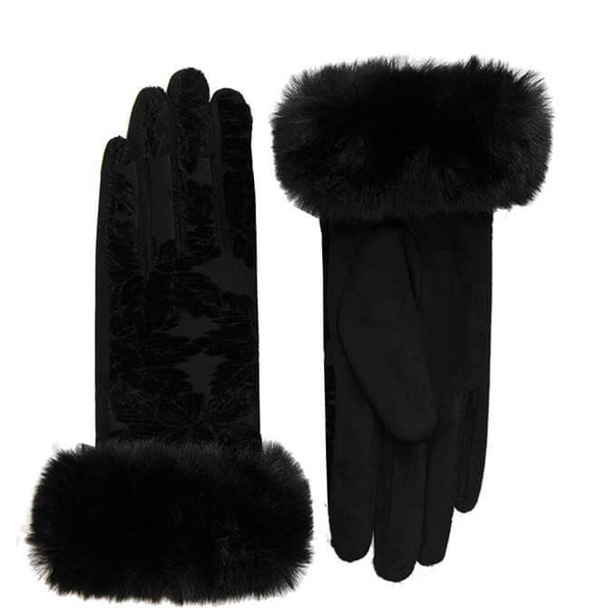 Pia Rossini Bailey Black Velvet Faux Fur Gloves .