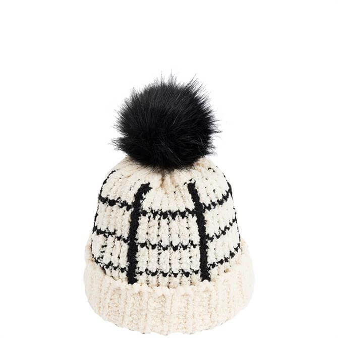 Pia Rossini Levine Beanie with Faux Fur Pom Pom