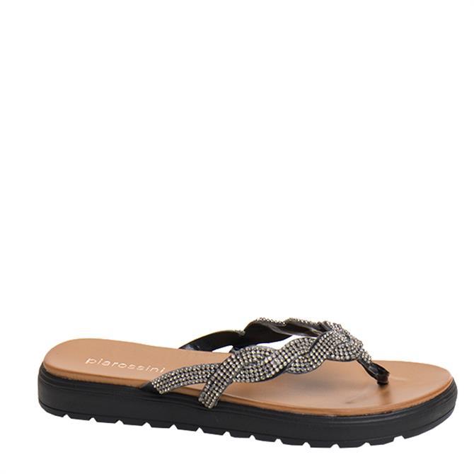 Pia Rossini Sandrine Embellished Wedged Toe Post Sandals