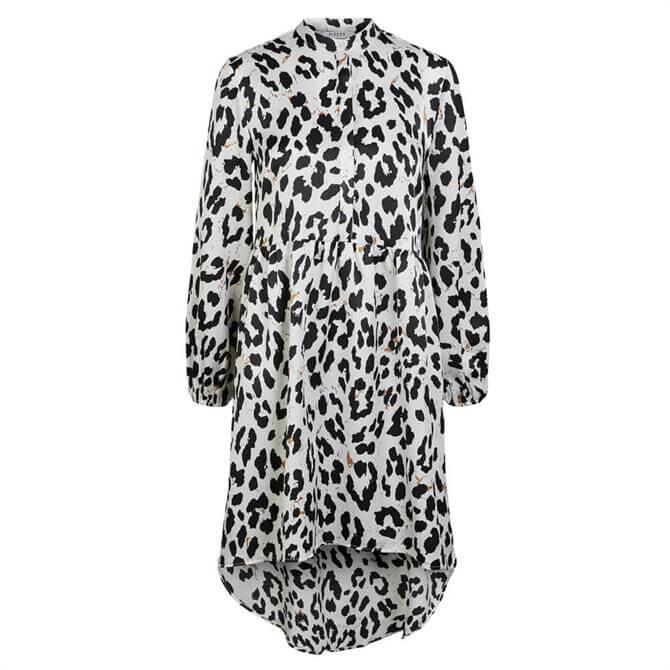 Pieces Leopard Print Dipped Hemline Dress