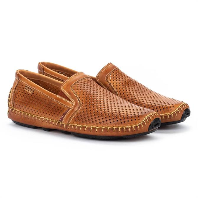 Pikolinos Jerez 09Z Textured Brown Leather Loafers