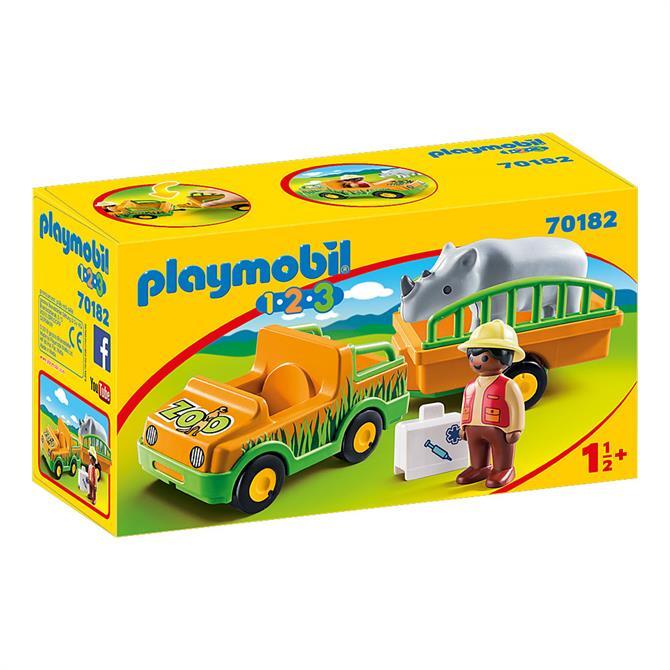Playmobil 123 Zoo Vehicle with Rhinoceros 70182