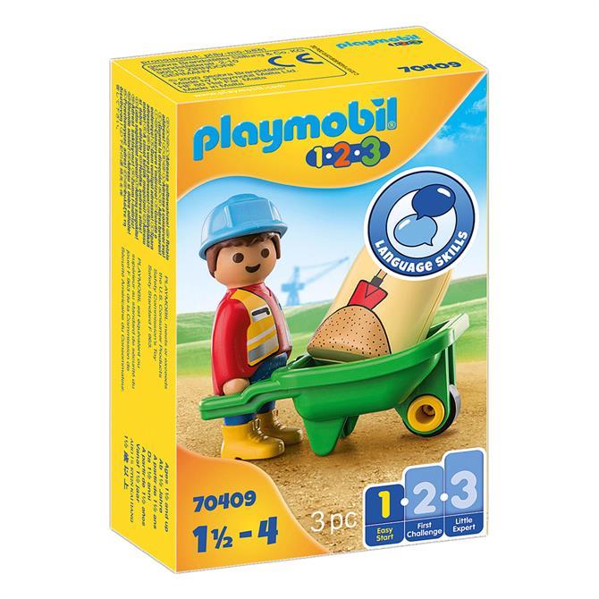 Playmobil Construction Worker With Wheelbarrow 70409