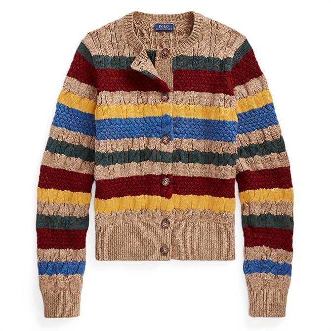 Polo Ralph Lauren Striped Cable-Knit Cardigan