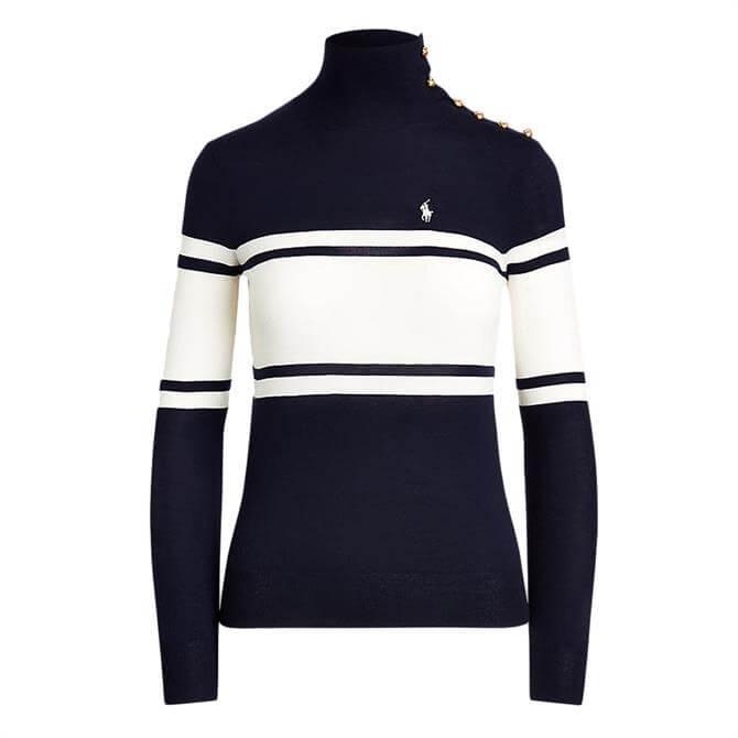 Polo Ralph Lauren Buttoned-Placket Wool Turtleneck