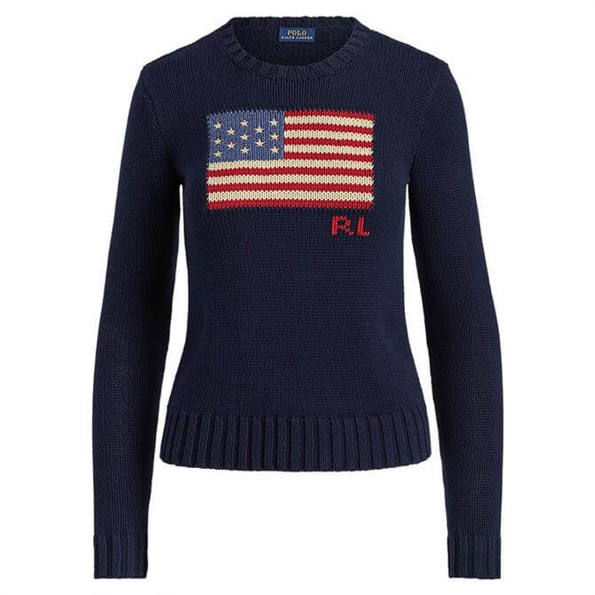 Polo Ralph Lauren Flag Navy Cotton Sweater