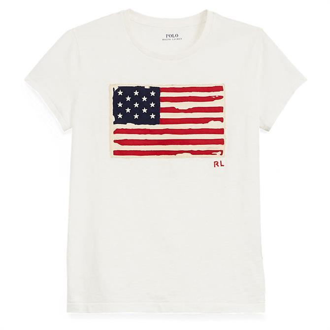 Polo Ralph Lauren Flag Jersey Graphic Cream T-Shirt