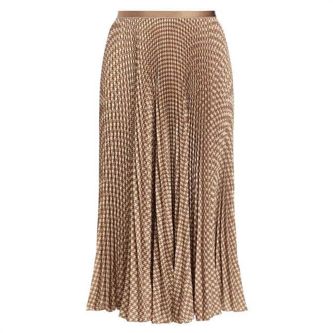 Polo Ralph Lauren Houndstooth Pleated Skirt