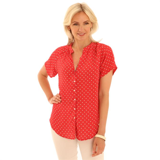 Pomodoro Polka Dot Short Sleeve Blouse