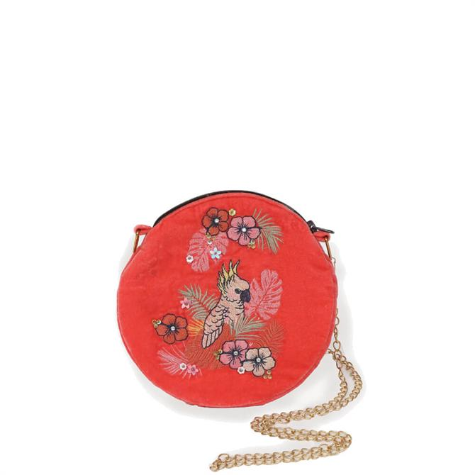 Powder Designs Cockatoo Velvet Embroidered Bag