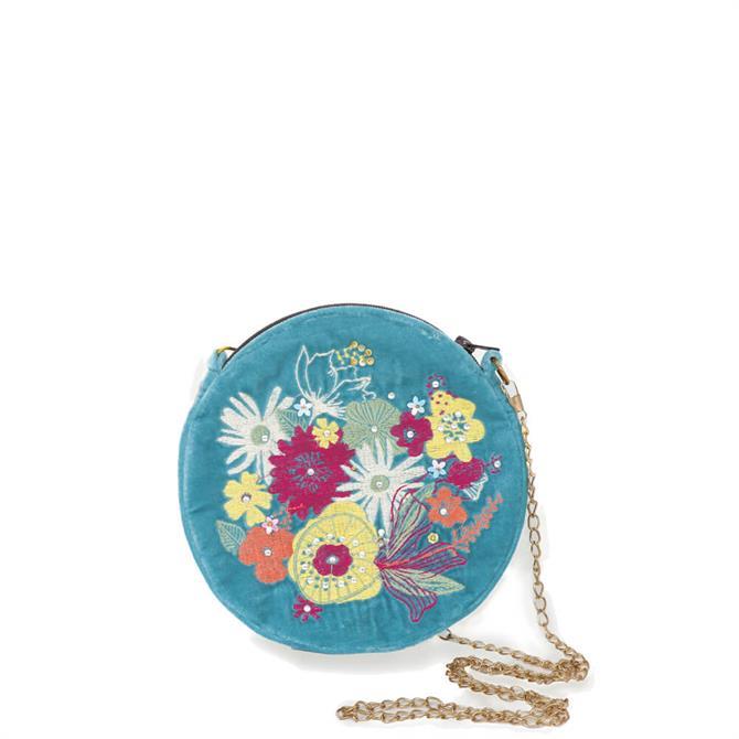 Powder Designs Modern Floral Velvet Embroidered Bag