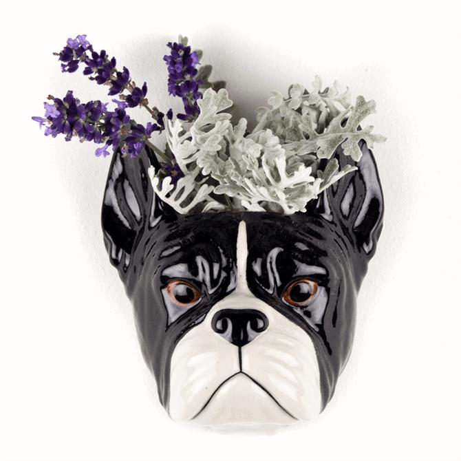 Quail French Bulldog Flower Wall Vase Small
