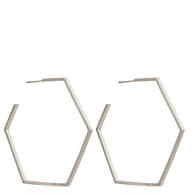 Rachel Jackson London Silver Oversized Hexagon Hoop Earrings