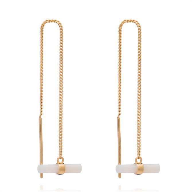 Rachel Jackson London Mini Gold Gemstone T Bar Threader Earrings