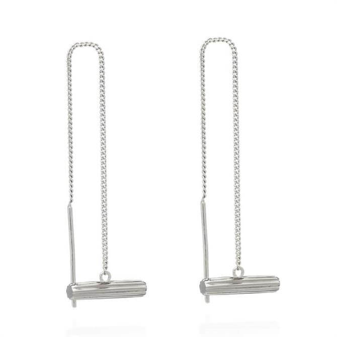 Rachel Jackson London Mini Silver T-Bar Threader Earrings