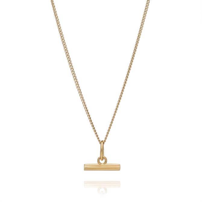 Rachel Jackson London Mini Gold T-Bar Necklace