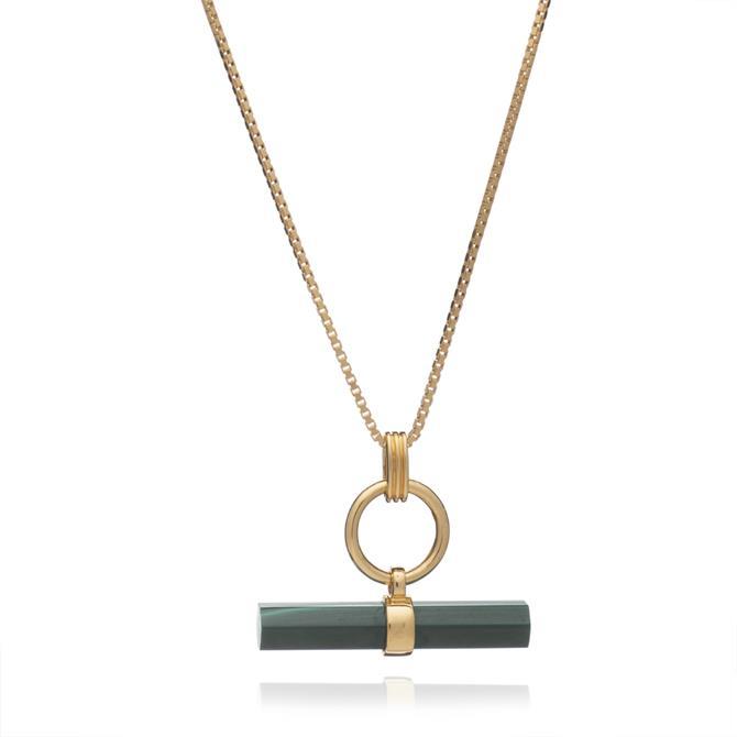 Rachel Jackson London Gold Gemstone T-Bar Necklace