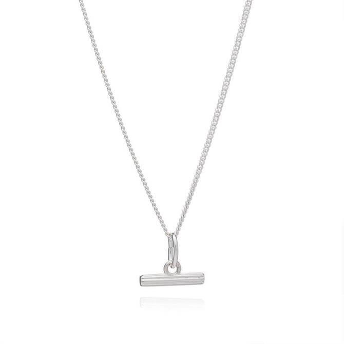 Rachel Jackson London Mini Silver T-Bar Necklace