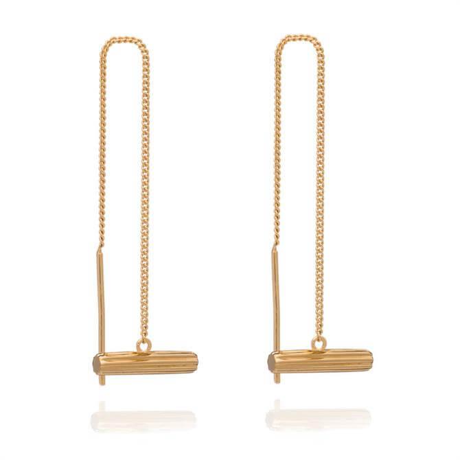 Rachel Jackson London Mini Gold T-Bar Threader Earrings