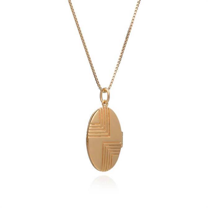 Rachel Jackson London Art Deco Locket Gold Necklace