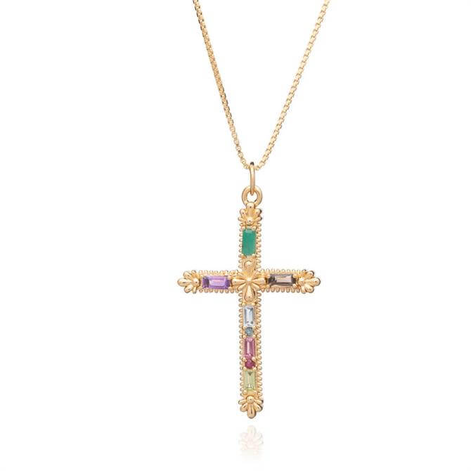 Rachel Jackson London Gold Gemstone Statement Cross Necklace