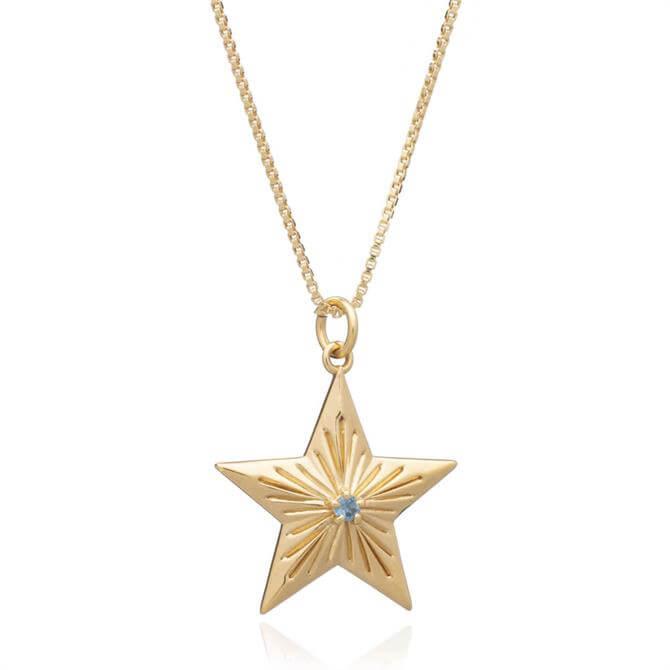 Rachel Jackson London Blue Topaz Statement Lucky Star Gold Necklace