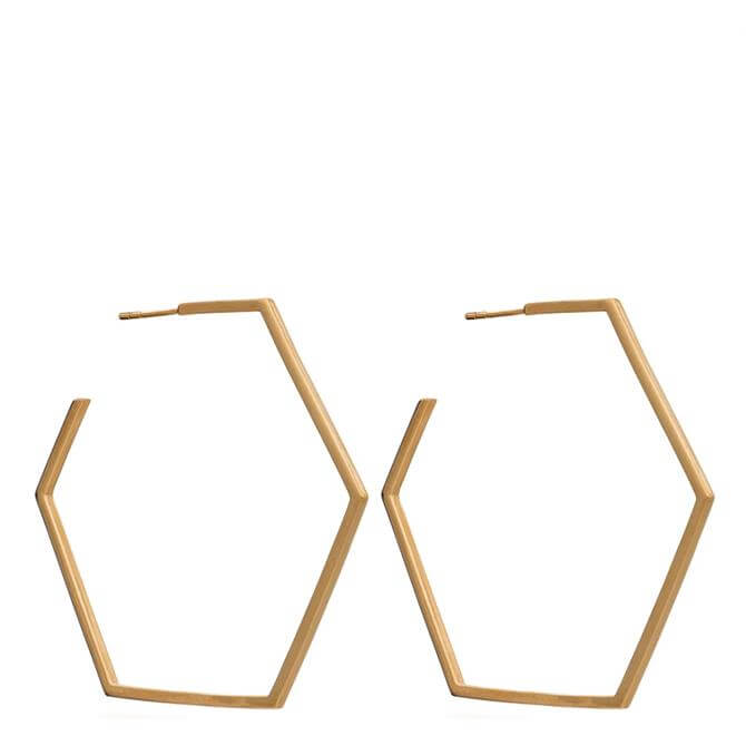 Rachel Jackson London Gold Oversized Hexagon Hoop Earrings