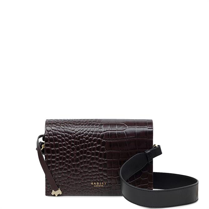 Radley Haven Street Faux Croc Oxblood Small Flapover Cross Body Bag