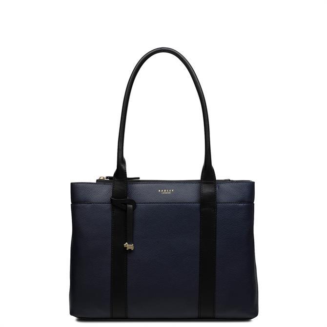 Radley Maples Place Ink Blue Medium Zip Top Tote Bag