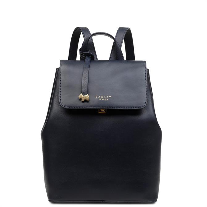 Radley Sandler Street Ink Blue Leather Medium Flapover Backpack