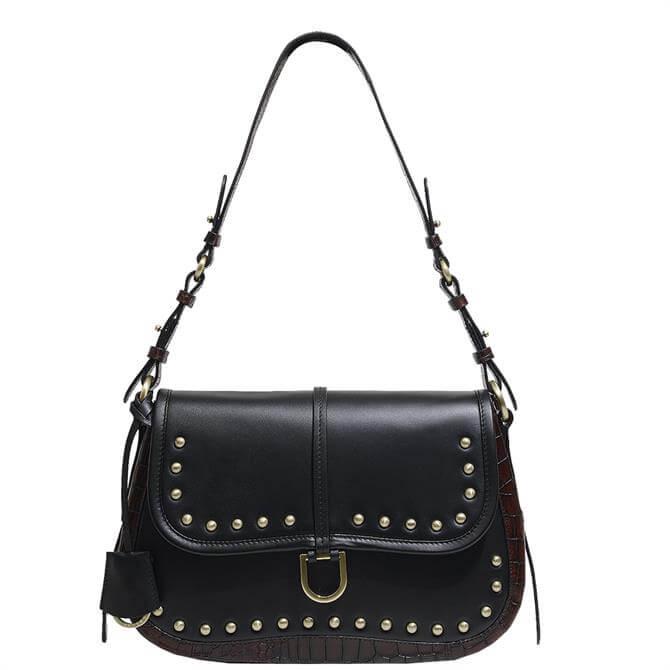 Radley London Aubrey Walk Studded Flapover Black Shoulder Bag
