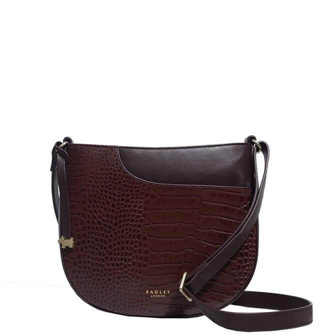 Radley London Pockets Brown Faux Croc Medium Zip Top Cross Body Bag