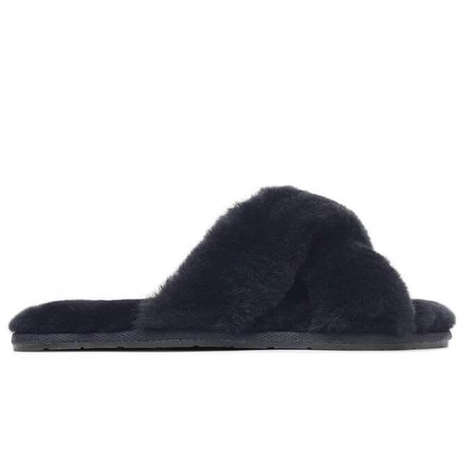 Radley London Poppins Court Black Criss Cross Shearling Slippers