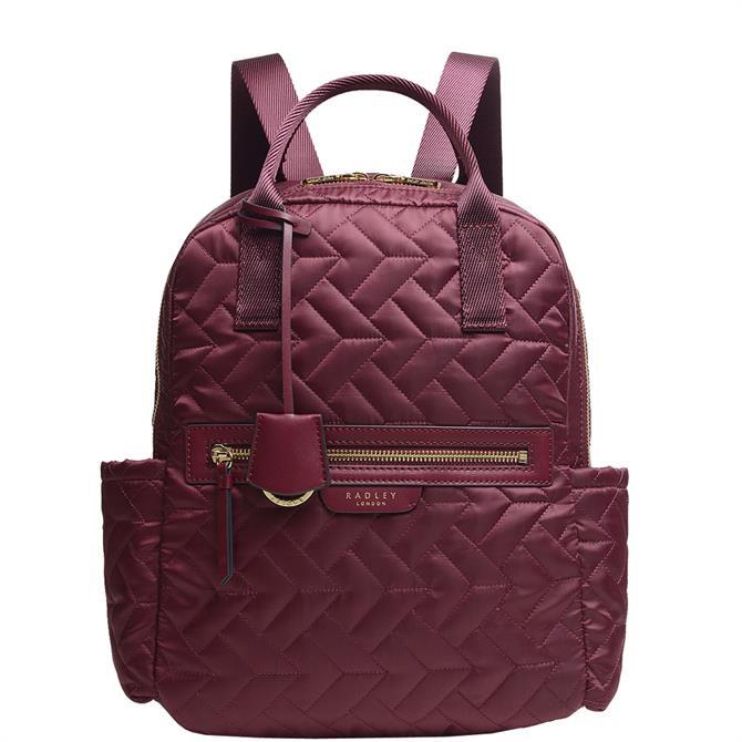 Radley London Finsbury Park Quilt Merlot Medium Zip Top Backpack
