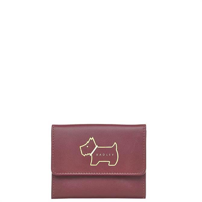 Radley London Heritage Dog Outline Merlot Small Trifold Purse