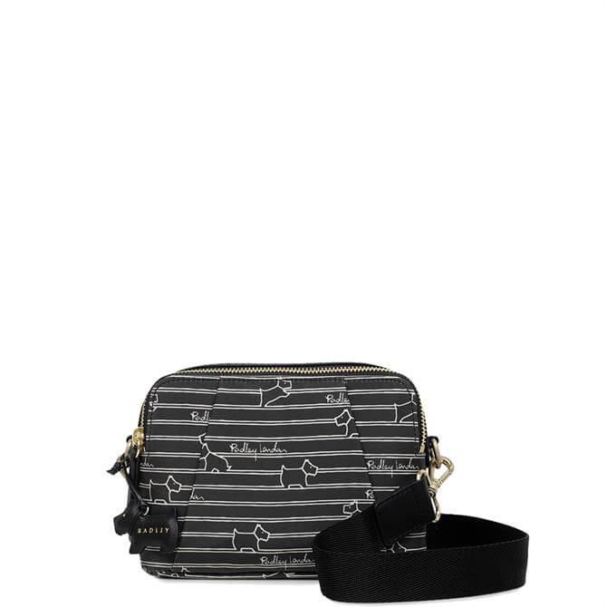 Radley Stripe Black Small Zip Top Cross Body Bag