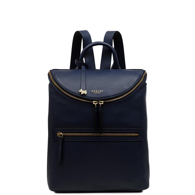 Radley Crown Hill Ink Blue Medium Zip Top Backpack