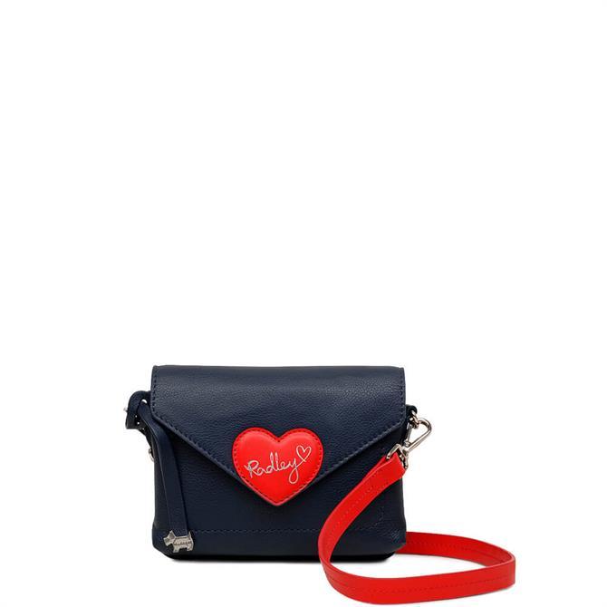 Radley 'I Love You' Ink Blue Mini Flapover Cross Body Bag