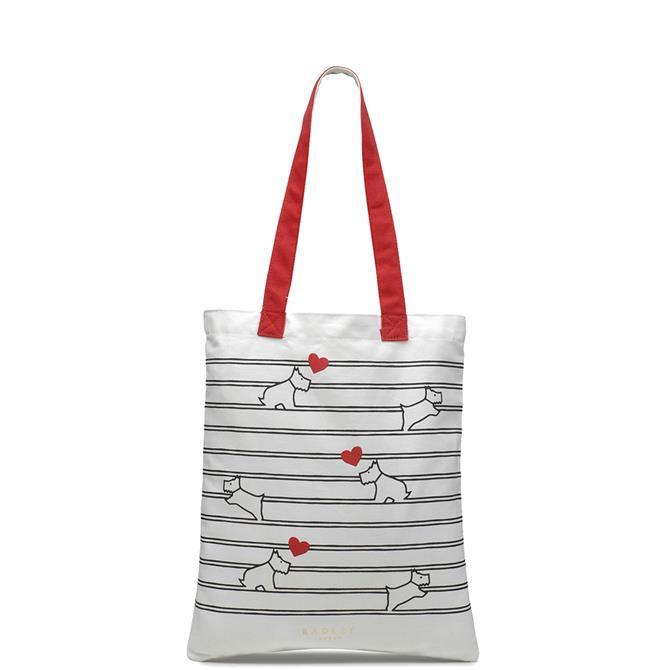 Radley 'I Love You' Striped Medium Tote Bag