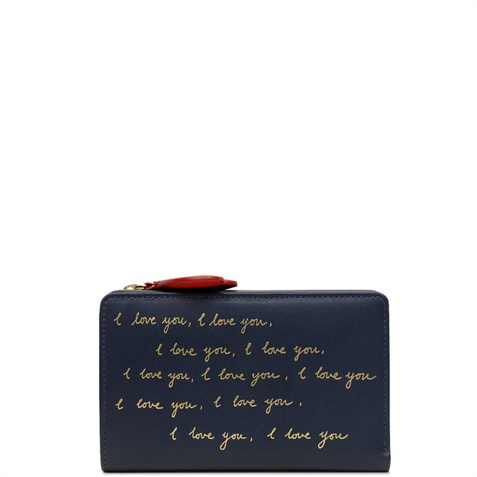 Radley 'I Love You' Ink Blue Medium Bifold Purse