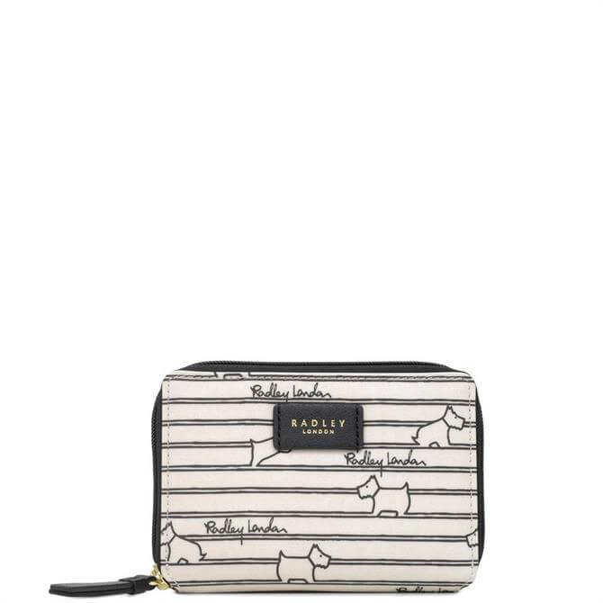 Radley Stripe White Medium Zip Around Purse