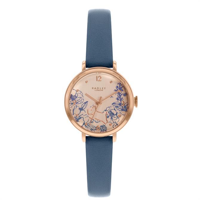 Radley Mini Sketchbook Floral Denim Blue Leather Watch