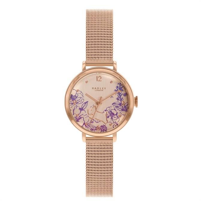 Radley Mini Sketchbook Floral Rose Gold Stainless Steel Mesh Watch