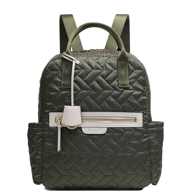 Radley London Finsbury Park Quilt Khaki Medium ZipTop Backpack